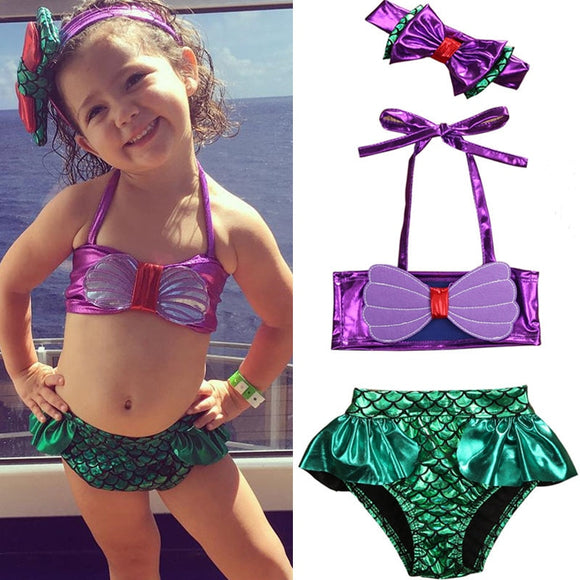 Kids Mermaid Swimsuit Swimwear Bathing Suit Tankini Bikini