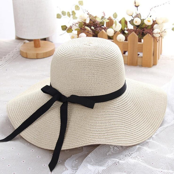 summer straw hat women wide brim beach UV protection panama hat bone
