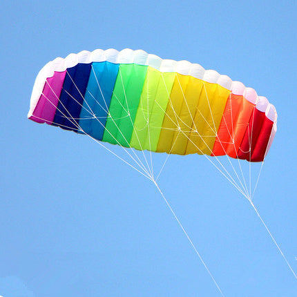 Dual line 1.5m Parafoil kites flying rainbow Sports Beach stunt kite with handle ripstop nylon outdoor kitesurf
