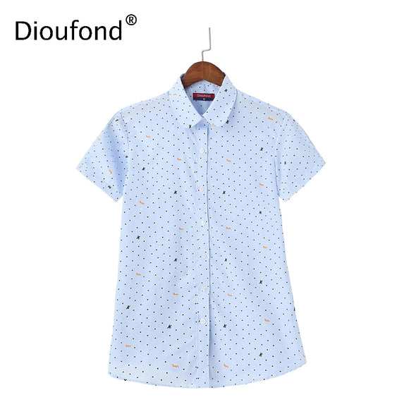 Dioufond Short Printed Women's Fashion Feninina Casual Size Blusas
