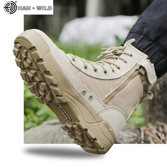 Men Tactical Military Army Boots Breathable Leather Mesh High Top Casual Desert Work Shoes Mens SWAT Ankle Combat Boot