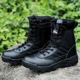 Men Military Boots Breathable Leather Mesh Top SWAT Ankle Combat Boot