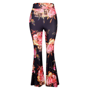 Fashion Women Print Leggings High Waist Bell-Bottomed Pants Flare Trousers Pants