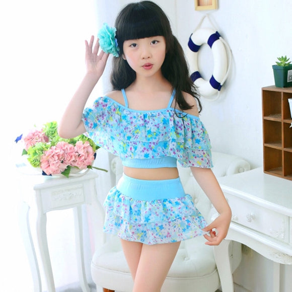 Two Pieces For Swimming Polyester Swimwear Kids Floral Suit 3-15 Years