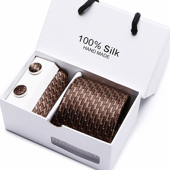 Gift box packing  men brand luxury necktie pocket square silk tie set
