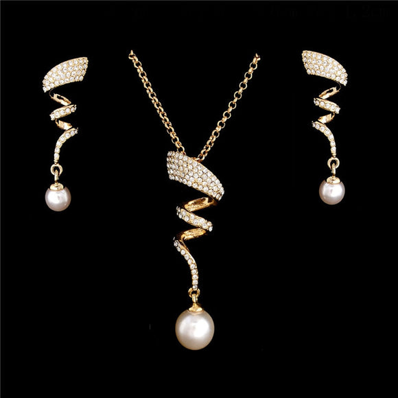 Vintage Imitation Pearl necklace Gold jewelry set Party gift for women