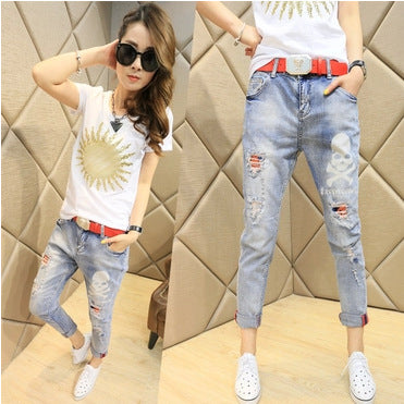 Spring 2019 couture fashion jeans female skull slim feet Haren pants pants nine