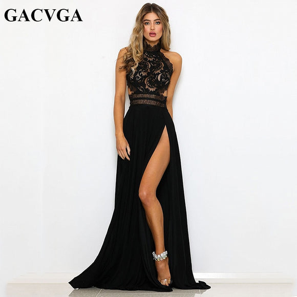 Sexy Women Sleeveless Halter Neck Lace Crochet Evening Maxi Long
