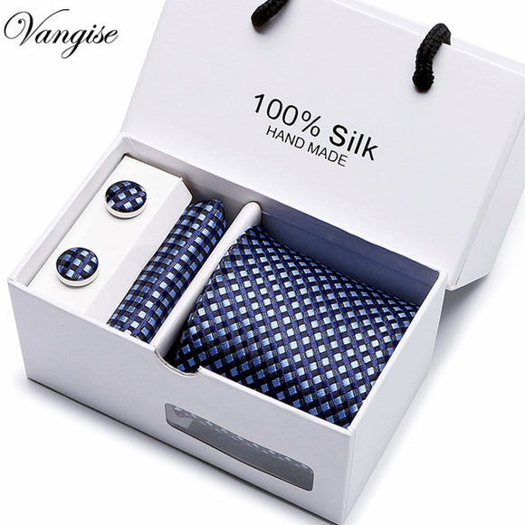 New Plaid men ties set Extra Long Silk Jacquard Woven Neck Tie Suit