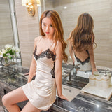 Women Nightgowns Sexy Lace Satin Sleepwear Night Dress Silk Nightwear