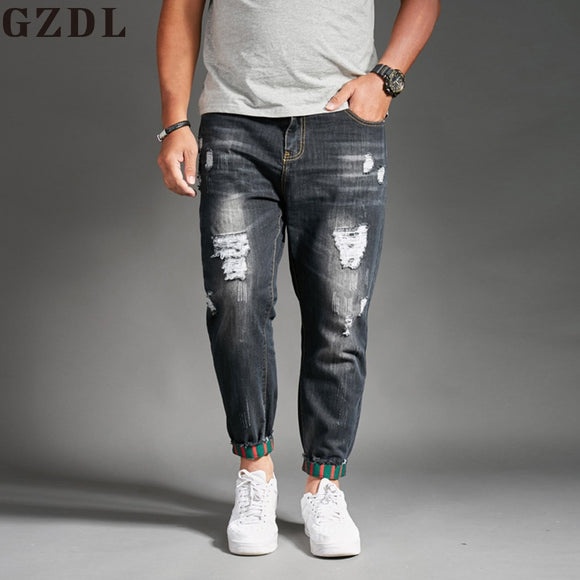 Men's thin section hole jeans stretch slim jeans casual harlan pants
