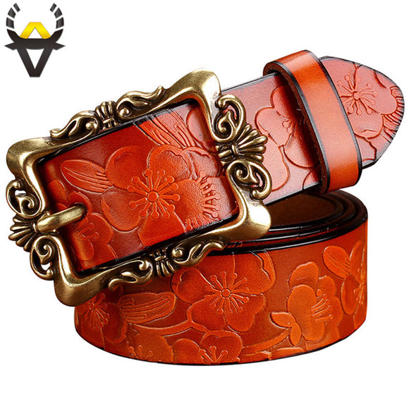Fashion Wide Genuine leather belts for women Vintage Floral Pin buckle