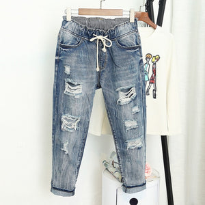 Summer Ripped Boyfriend Jeans For Women Fashion High Mujer Vaqueros