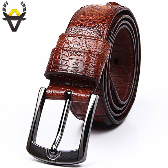 Fashion Genuine leather belts for men Wide Luxury Designer crocodile Pin buckle man belt High quality cowskin strap for Jeans