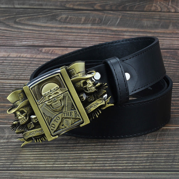 Golden skull Novelty cigarette lighter leather belts for men