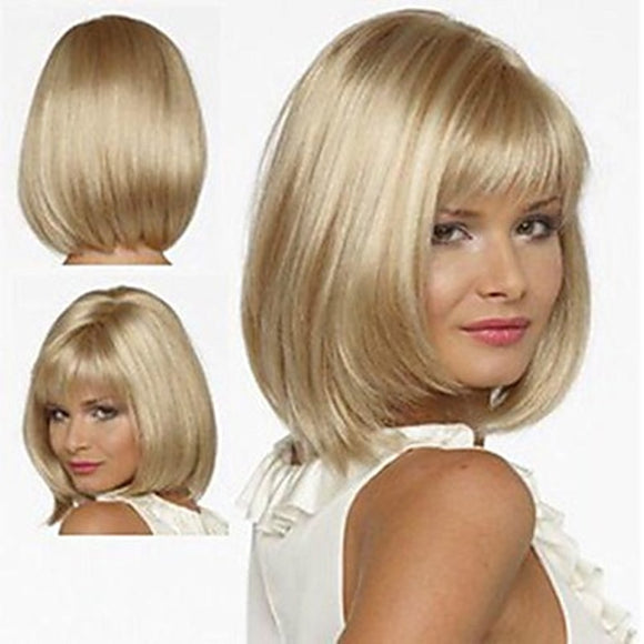 White Women Synthetic Full Wigs Short Straight Bob Hairstyle