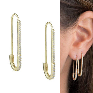 paperclip safety pin studs fashion  women jewelry gold filled earring