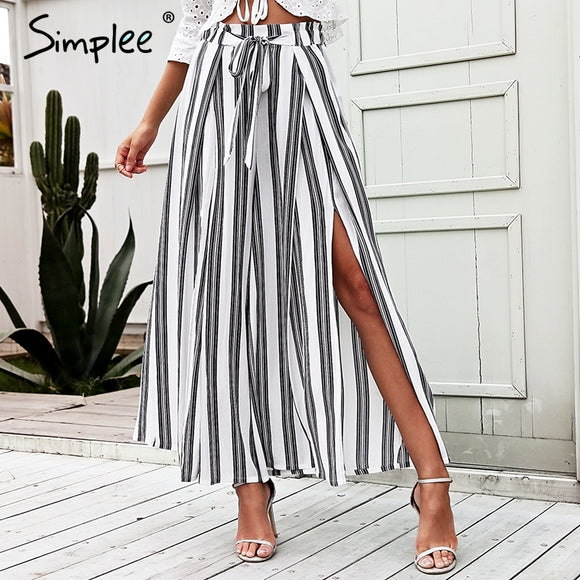 Simplee High waist loose striped summer pants plus size Sexy side split women pants Elastic cotton white wide leg trousers 2018