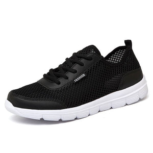 Summer Casual Shoes For Men 2019 Fashion Breathable Mesh Lace up Lover Shoes Men Flats Sneakers Plus Size 36-48