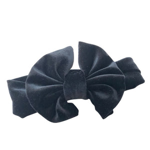 "5"" Big Smooth Velvet Kids Girl Hair Bow Elastic Headband Fall/Winter Warm Headwrap Birthday Party Hair Accessories"