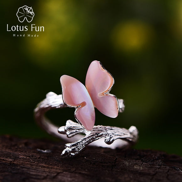 Lotus Fun Original Designer Jewelry Butterfly on Branch Female Ring