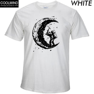 100% cotton digging the moon print casual mens o-neck t shirts fashion men's tops men T-shirt short sleeve men tshirt 2019