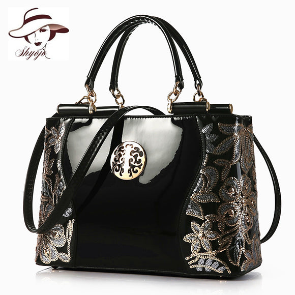 Large Capacity Women Handbag Leather Evening Bag