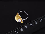 Lotus Fun Rea Pearl Handmade Designer Fine Jewelry Creative Open Ring