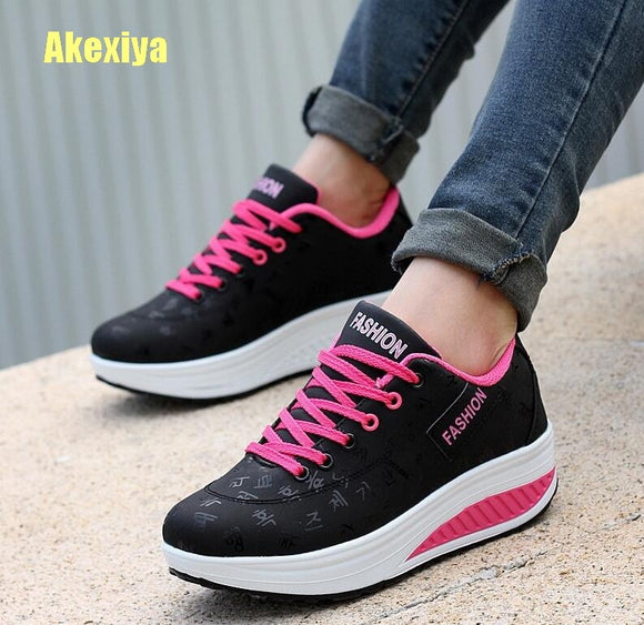 Akexiya Fashion Women Height Summer Woman Pu Leather Casual Shoe