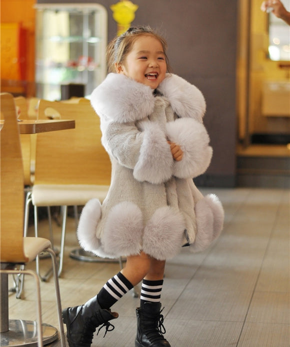 Girls Long Sleeve Winter Faux Fur Brand Fur Formal Soft Party Coat