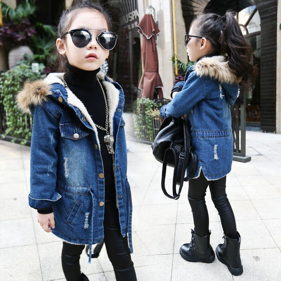 2019 New winter Kids girls denim jacket children plus thick velvet jacket
