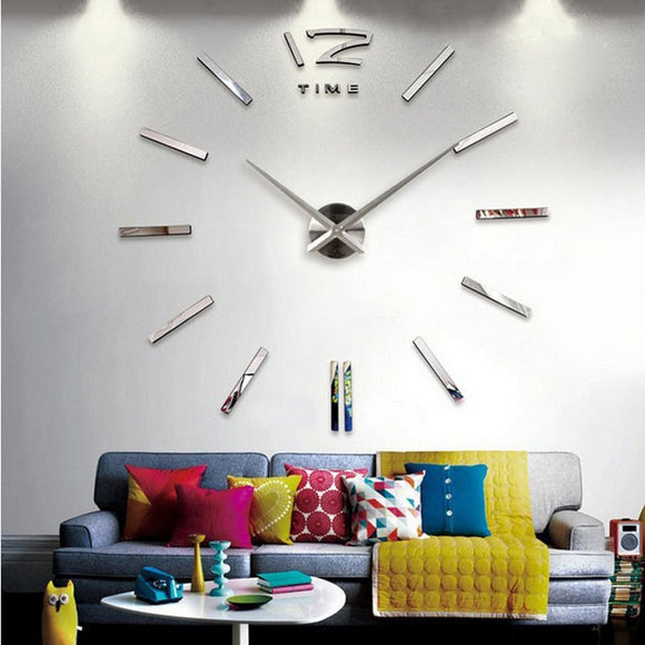3d real big wall clock rushed mirror wall sticker diy living room