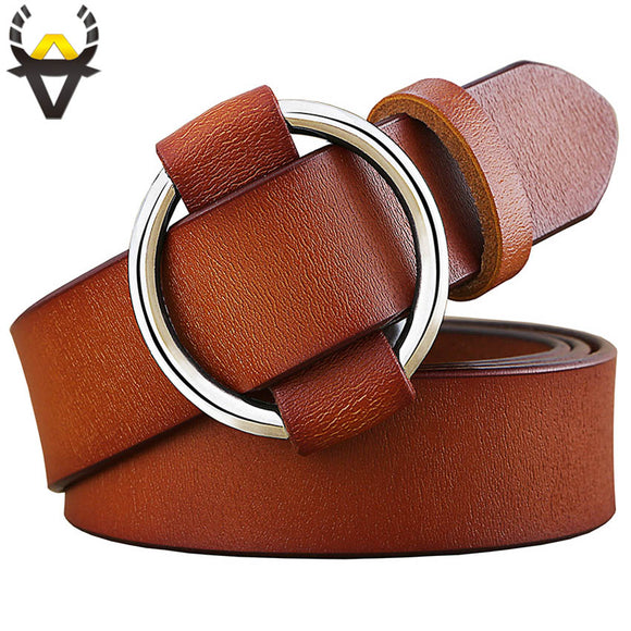 Fashion Round Ring buckle woman Genuine leather belts jeans or dress