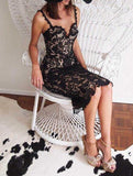 Fashion Designer White/ Black Party dress Women Sexy Sleeveless Lace