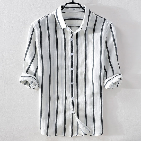 Italy brand summer linen men shirt casual fashion white stripes shirt