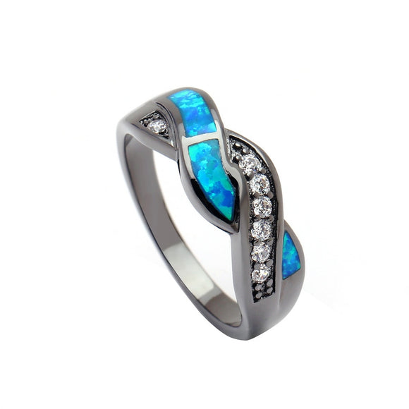 Plated Wave Blue Opal Rings for Women  Fashion Jewelry