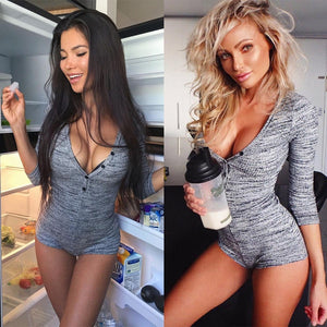 Women Sexy V Neck Cotton Bodysuit Long Sleeve Autumn Clothing Wear