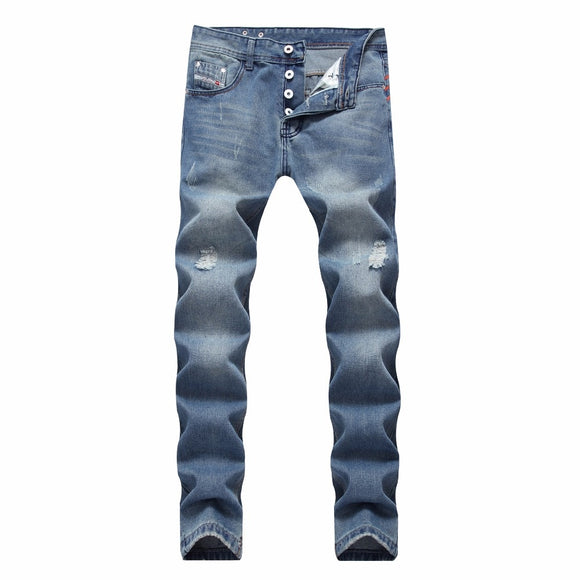 High quality Retro Teenage Men Jeans Straight Loose Pants biker jeans