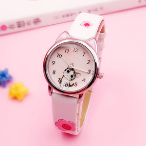 JOYROX Cute Cheese Cat Pattern Student Clock Gift Relogio Feminino