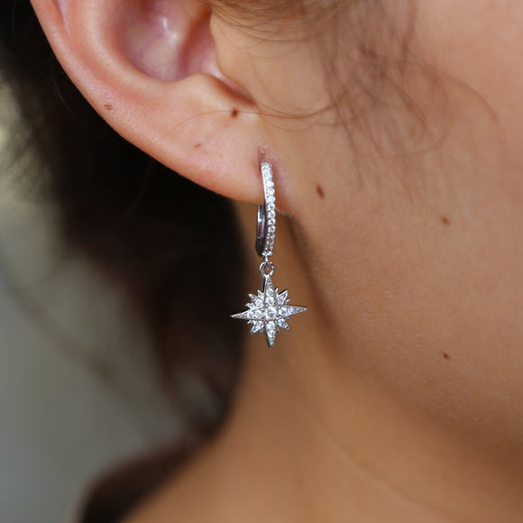 simple temperament CZ star North star charm earrings