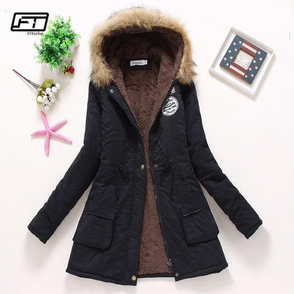Fitaylor  Winter Coats Women Cotton Jacket Thick Warm Hooded  Abrigos