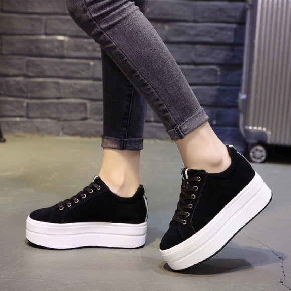High Heels Ladies Casual Shoes 2018 Spring Fashion  Lace-Up Women's Shoes British Style Women Sneakers Autumn Platform Shoes