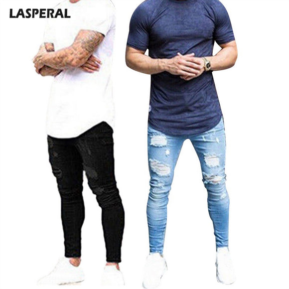 LASPERAL 3XL Slim Jeans Pants Men's Ankle Length Plus Size Summer Autumn Ripped Pencil Pants Trousers Casual Denim Skinny Jeans