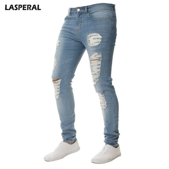 LASPERAL Men's Skinny Casual Jeans Male Solid Color Frayed Denim Pencil Jean Feet Jeans Knee Hole For Male