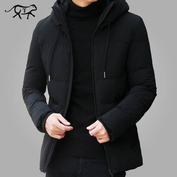 Men Clothes Casual Stand Collar Hooded Collar Fashion Winter Coat