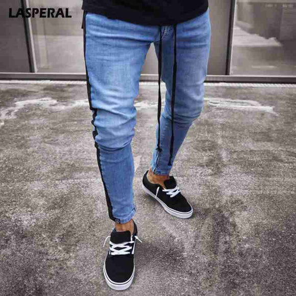 LASPERAL Male Zipper Striped Fashion Jean Streetwear Ripped Jeans For Men Fashion Biker Jean Men Slim Jeans  Spring And Autumn