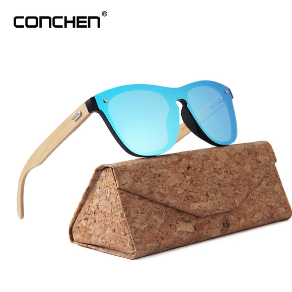 CONCHEN Wooden Sunglasses For Women Fashion Brand Designer UV400 Mirror Lenses Bamboo Sunglasses For Men 2019 New Arrival
