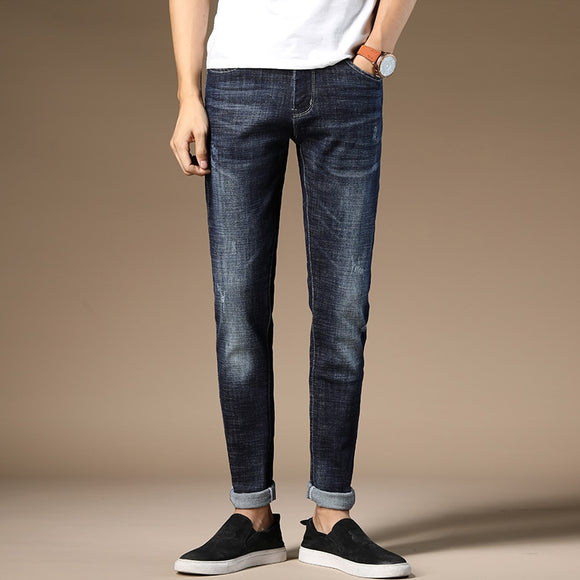 HAOKEKE Jeans Men Dark Blue Elastic Slim Fit Denim Trouser Male Pencil Pants Full Length Man Jeans