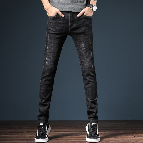 Mens Elastic Slim Fit Pencil Pants Denim Trouser Jeans Black Blue