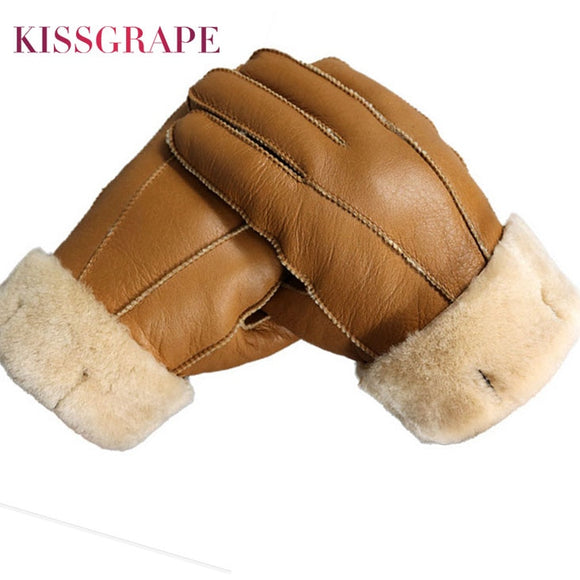 Men Winter Gloves Warm Genuine Sheep Fur Gloves for Men
